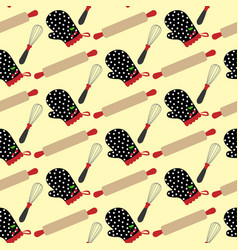 kitchen stuff and potholder pattern vector image
