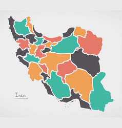Iran map with states and modern round shapes vector