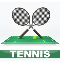Tennis court and rackets vector