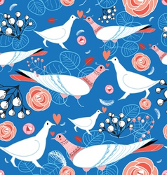 bright pattern with flowers and birds vector image