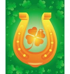 golden horseshoe with leaf clover vector image