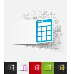 Calculator paper sticker with hand drawn elements vector
