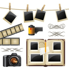 Retro-styled photography set vector