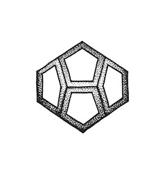 Hand drawn dotted style polyhedron vector