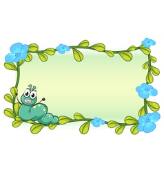 A caterpillar and flowers vector image