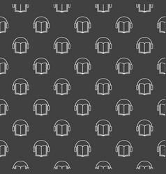 book with headphones dark pattern vector image vector image