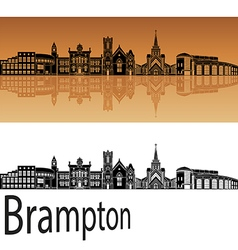 Brampton skyline in orange vector image
