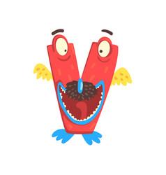 cartoon character monster letter v vector image vector image