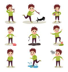 Cartoon character of naughty kid set playing vector