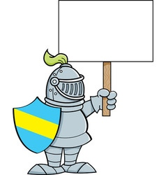 Cartoon knight holding a sign vector image