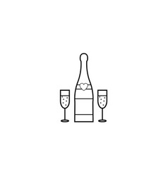 Champagne bottle with wine glasses line icon vector