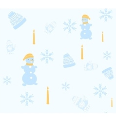Christmas seamless pattern with snowman cap and vector