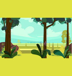 Cute cartoon seamless landscape with separated vector
