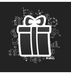 drawing business formulas gift box vector image
