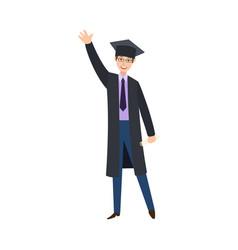 flat boy graduate in gown cap vector image vector image