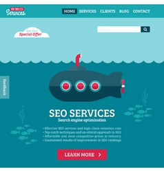 Flat design website template of SEO with submarine vector image vector image