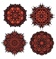 Floral patterns with red and orange flowers vector