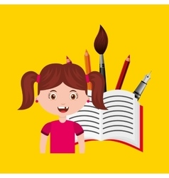 Girl character student with supplies school vector