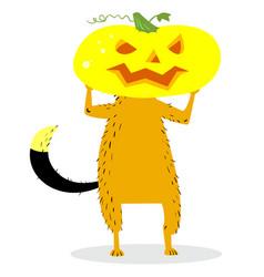 Halloween dog character with a pumpkin head vector