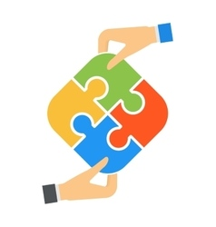 Hands and puzzle isolated solution business jigsaw vector