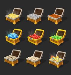 Isometric treasure chests set vector