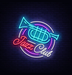 Jazz club neon neon sign logo brilliant vector