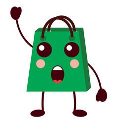 kawaii shopping bag cartoon surprise vector image