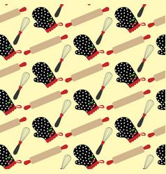 kitchen stuff and potholder pattern vector image vector image