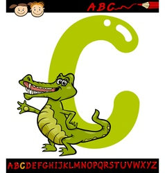 letter c for crocodile cartoon vector image vector image