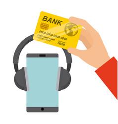 Mobile music commerce online vector