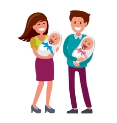 Mother and father and newborn vector