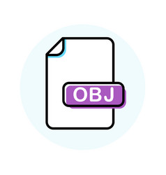 Obj file format extension color line icon vector