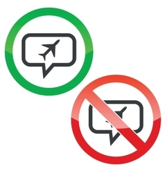 Plane message permission signs vector image vector image