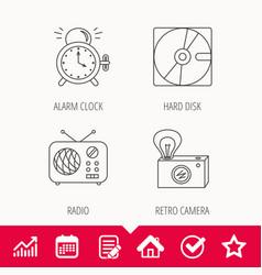 Radio retro camera and alarm clock icons vector