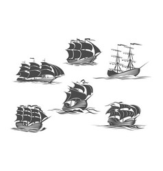 Sailing ship sailboat yacht and brigantine icon vector