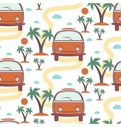 Seamless pattern of retro bus with surfboard in vector