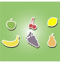 set of color icons with fruits vector image vector image