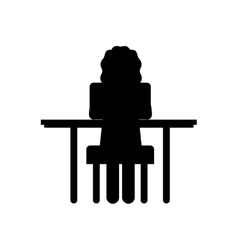 Silhouette woman sit in desk with computer vector