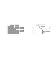 Wall grey set icon vector