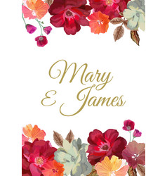 Wedding invitation with floral background hand vector
