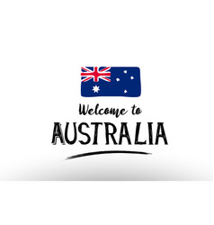 Welcome to australia country flag logo card vector