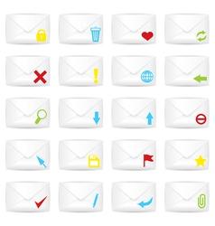 White closed twenty envelopes icon set vector