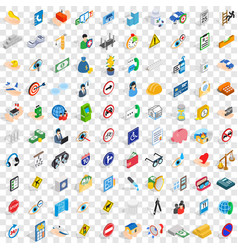 100 care icons set isometric 3d style vector