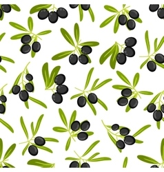 Olive branches seamless pattern background vector image