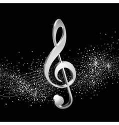 Treble clef silver vector