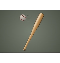 Baseball bat with ball vector image