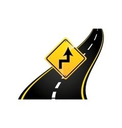 Curves road sign concept asphalt graphic vector