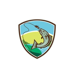 Trout biting hook lure shield retro vector