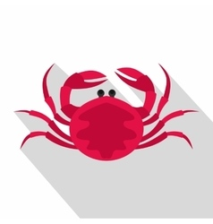 Big pink crab icon flat style vector