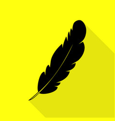 Feather sign  black icon with flat vector